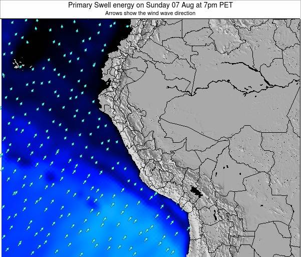 Peru Primary Swell energy on Sunday 26 May at 7am PET