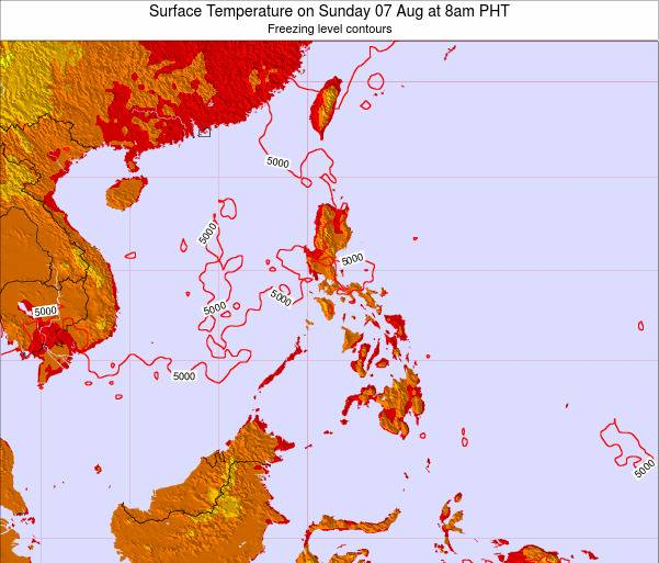 Philippines Surface Temperature on Monday 27 May at 2pm PHT map