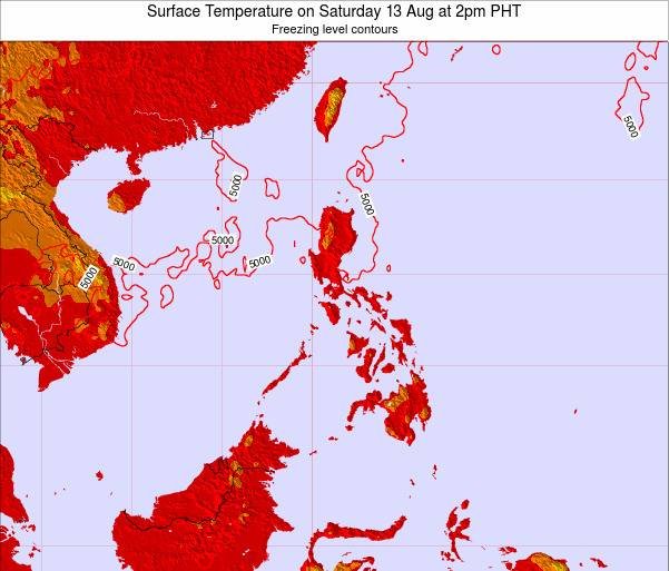 Philippines Surface Temperature on Friday 31 May at 2pm PHT