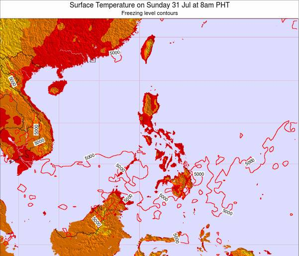 Philippines Surface Temperature on Monday 27 May at 8am PHT