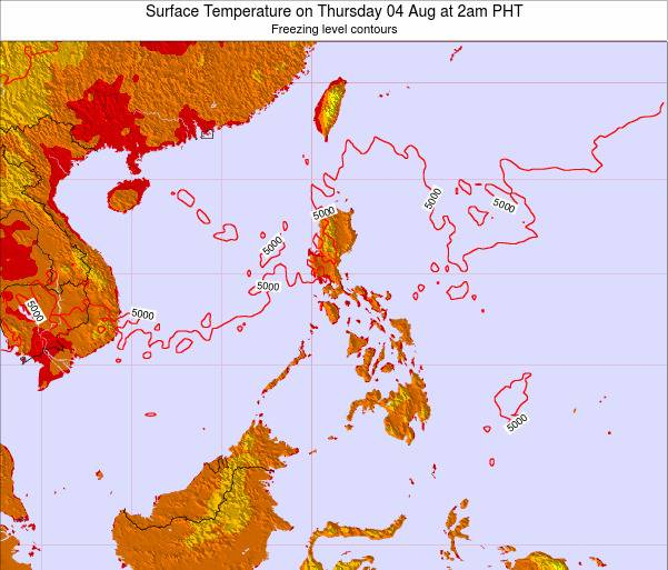 Philippines Surface Temperature on Thursday 20 Jun at 2pm PHT