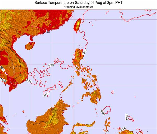 Philippines Surface Temperature on Friday 21 Jun at 8am PHT map