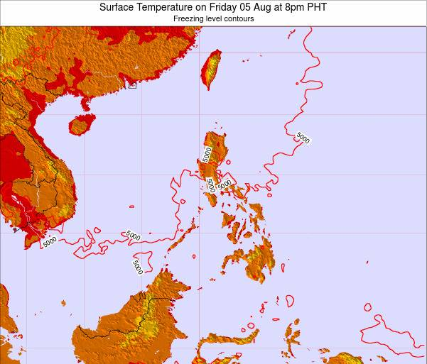 Philippines Surface Temperature on Thursday 23 May at 8am PHT map