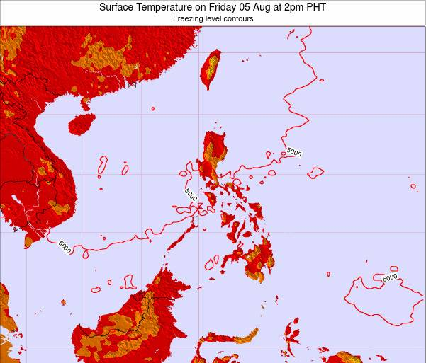 Philippines Surface Temperature on Sunday 26 May at 8pm PHT map