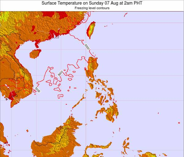 Palau Surface Temperature on Monday 10 Dec at 2pm PHT map