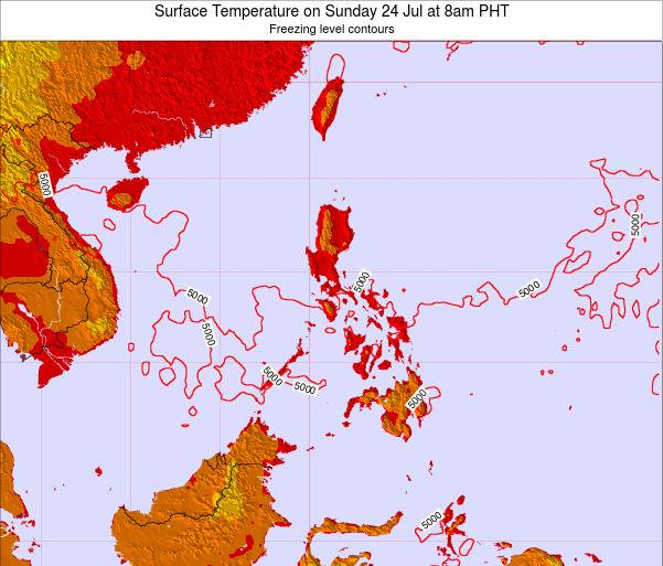 Palau Surface Temperature on Wednesday 25 Apr at 2am PHT map
