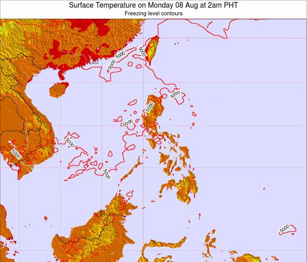 Philippines Surface Temperature on Thursday 23 May at 2am PHT map