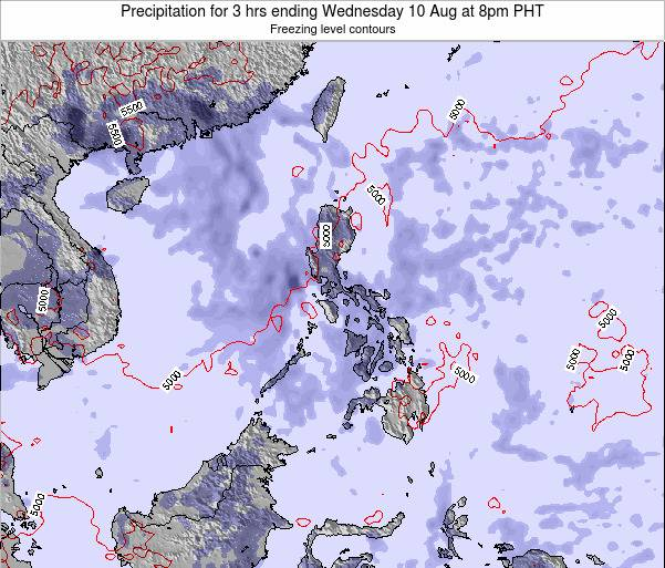 Palau Precipitation for 3 hrs ending Saturday 02 Aug at 8pm PHT