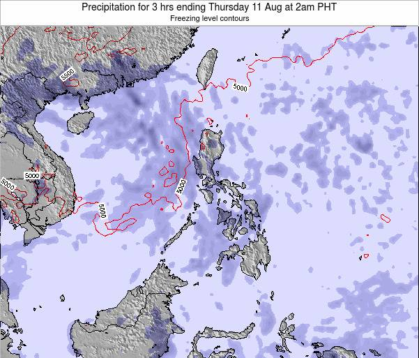 Palau Precipitation for 3 hrs ending Friday 25 Apr at 2pm PHT