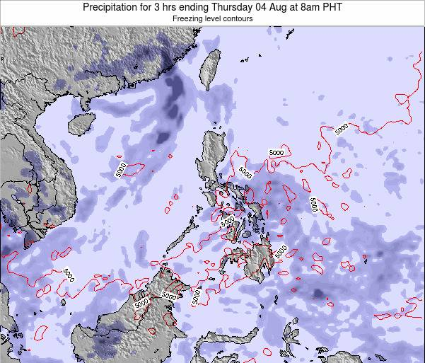 Palau Precipitation for 3 hrs ending Thursday 08 Dec at 8am PHT