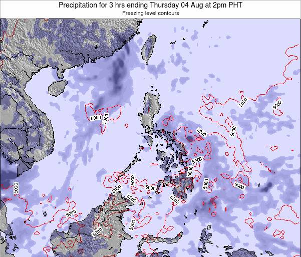 Palau Precipitation for 3 hrs ending Monday 03 Aug at 8am PHT
