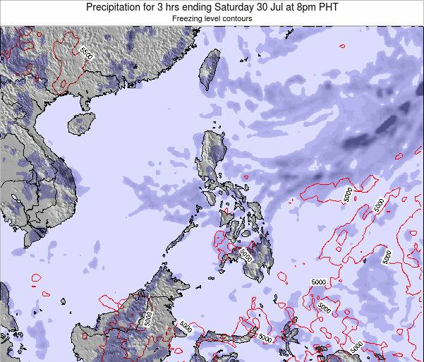 Palau Precipitation for 3 hrs ending Tuesday 30 Aug at 8am PHT