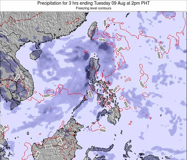 Palau Precipitation for 3 hrs ending Sunday 03 Aug at 8am PHT