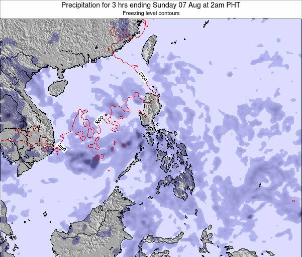 Palau Precipitation for 3 hrs ending Tuesday 23 Apr at 2am PHT map
