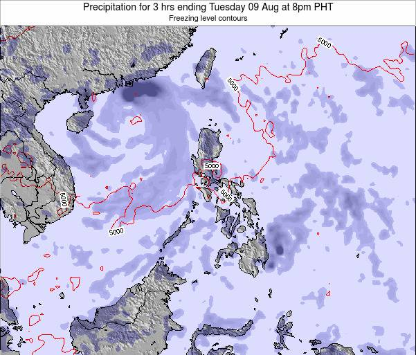 Palau Precipitation for 3 hrs ending Thursday 31 Jul at 8pm PHT