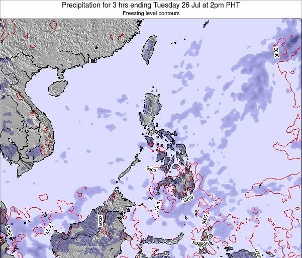 Palau Precipitation for 3 hrs ending Tuesday 11 Mar at 8pm PHT
