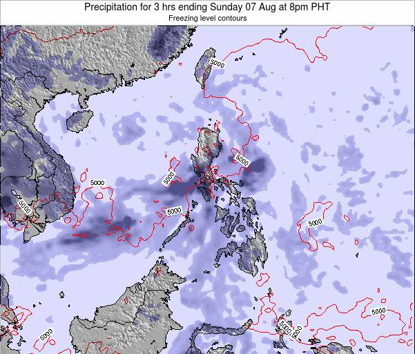 Palau Precipitation for 3 hrs ending Saturday 27 Aug at 2pm PHT