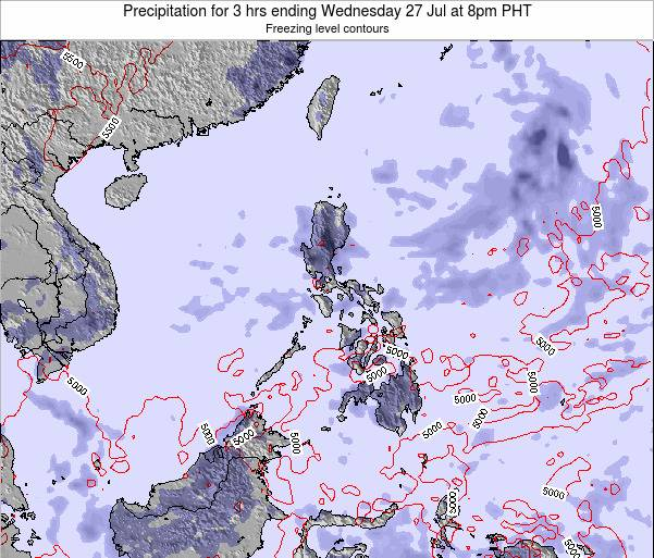 Palau Precipitation for 3 hrs ending Monday 28 Jul at 8pm PHT