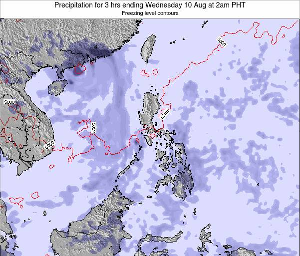 Palau Precipitation for 3 hrs ending Monday 09 Dec at 2am PHT
