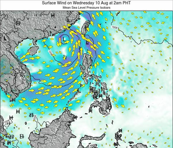 Palau Surface Wind on Monday 24 Jun at 2pm PHT