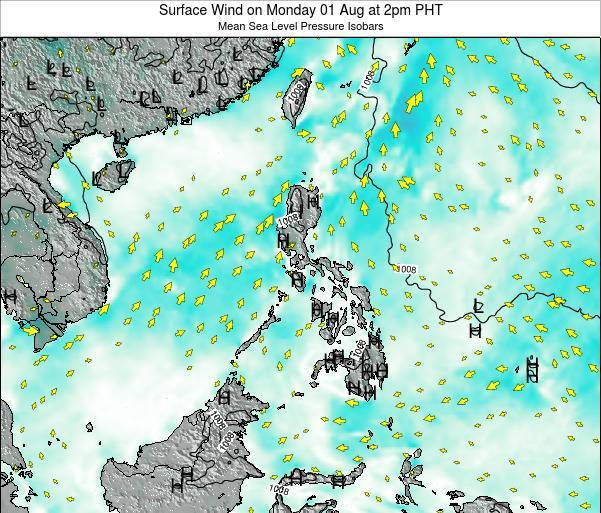 Palau Surface Wind on Monday 16 Jul at 8am PHT map