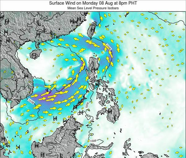 Palau Surface Wind on Saturday 25 May at 8pm PHT