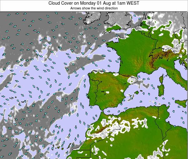 Portugal Cloud Cover on Friday 24 May at 1pm WEST map