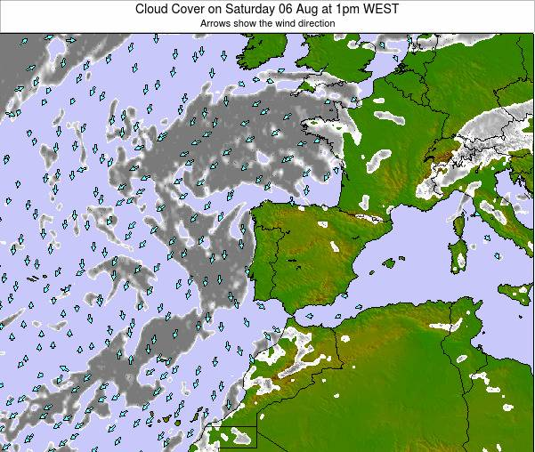 Portugal Cloud Cover on Monday 27 May at 1pm WEST