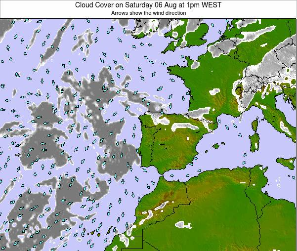 Portugal Cloud Cover on Friday 24 May at 7pm WEST