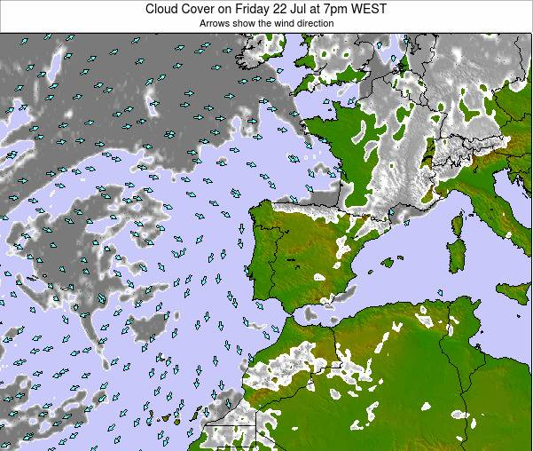 Portugal Cloud Cover on Monday 20 May at 1am WEST