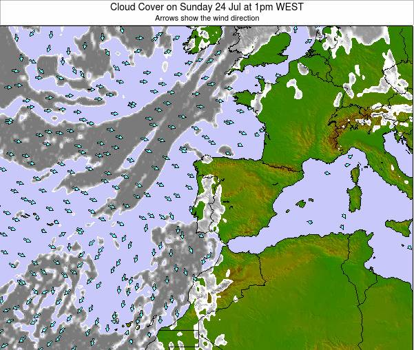 Portugal Cloud Cover on Wednesday 22 May at 7pm WEST