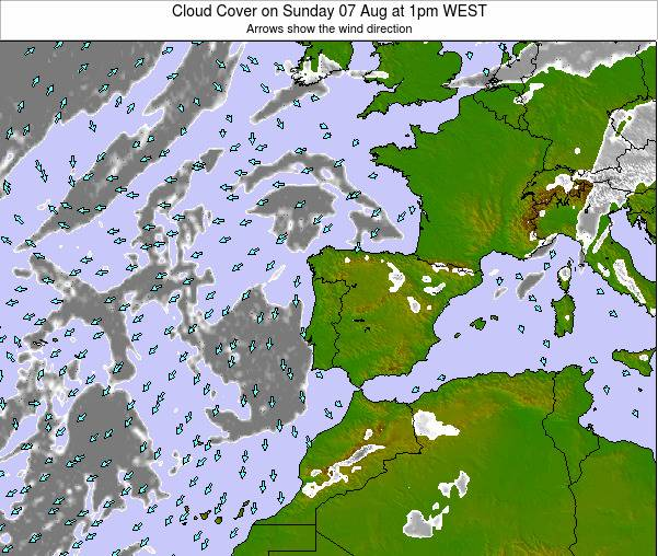 Portugal Cloud Cover on Saturday 25 May at 1am WEST