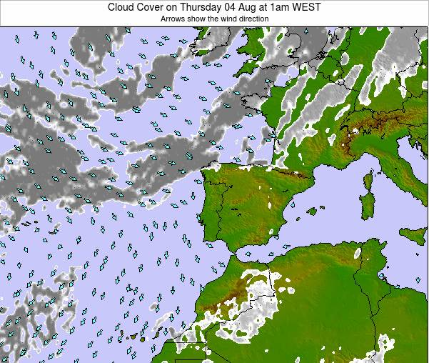 Portugal Cloud Cover on Sunday 26 May at 7am WEST