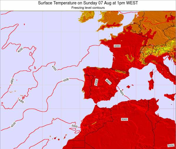 Portugal Surface Temperature on Saturday 25 May at 7pm WEST