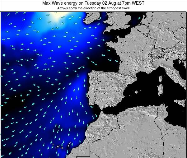 Portugal Max Wave energy on Monday 21 Apr at 1pm WEST