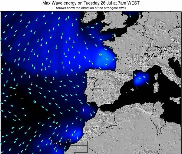 Portugal Max Wave energy on Tuesday 11 Mar at 12pm WET