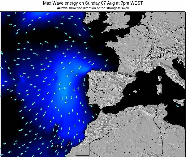 Portugal Max Wave energy on Monday 04 Aug at 1am WEST