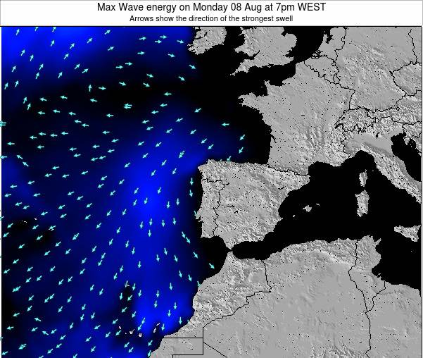 Portugal Max Wave energy on Wednesday 22 May at 7am WEST