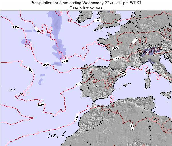 Portugal Precipitation for 3 hrs ending Saturday 15 Mar at 12am WET