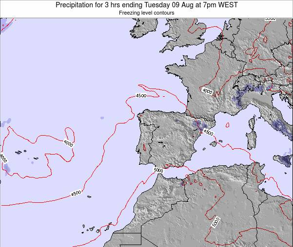 Portugal Precipitation for 3 hrs ending Sunday 27 Apr at 1pm WEST