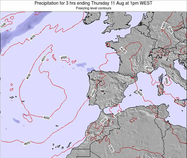 Portugal Precipitation for 3 hrs ending Wednesday 23 Apr at 1pm WEST