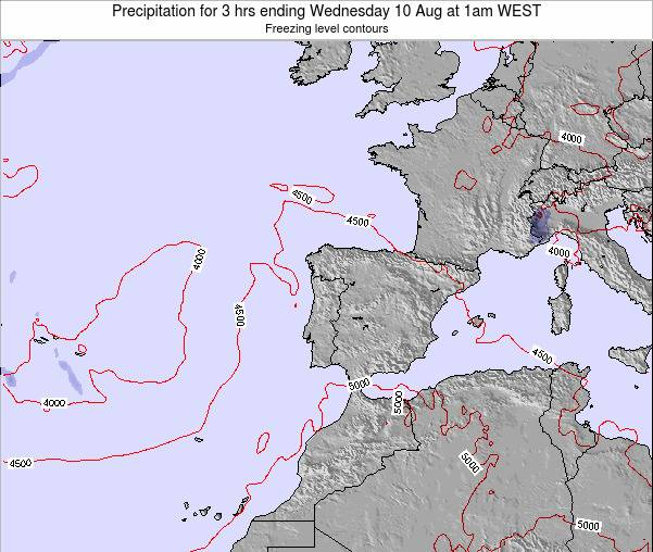 Portugal Precipitation for 3 hrs ending Monday 04 Aug at 1pm WEST