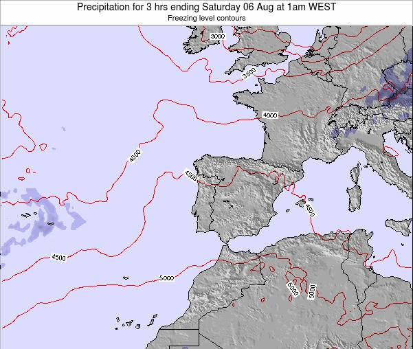 Portugal Precipitation for 3 hrs ending Wednesday 23 Apr at 7pm WEST map