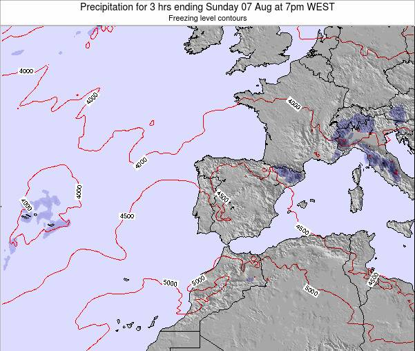 Portugal Precipitation for 3 hrs ending Friday 06 Dec at 12am WET map