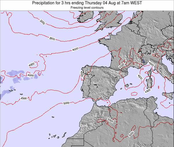 Portugal Precipitation for 3 hrs ending Wednesday 23 Apr at 7pm WEST