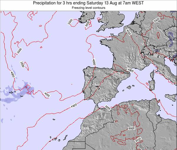 Portugal Precipitation for 3 hrs ending Tuesday 05 Aug at 1am WEST