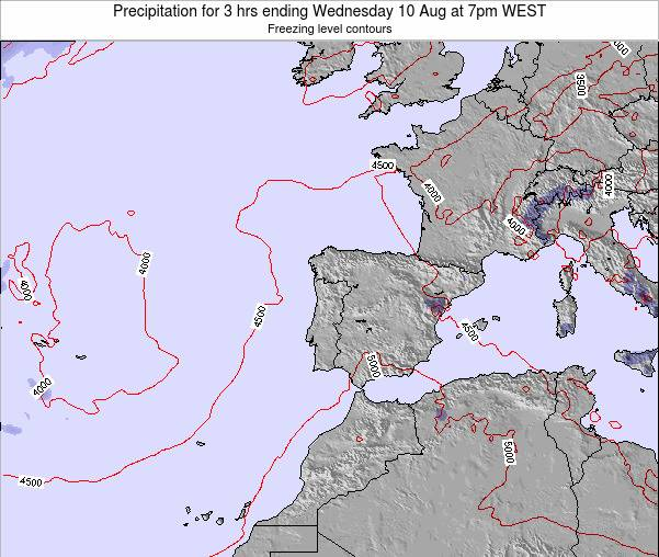 Portugal Precipitation for 3 hrs ending Saturday 08 Aug at 1pm WEST
