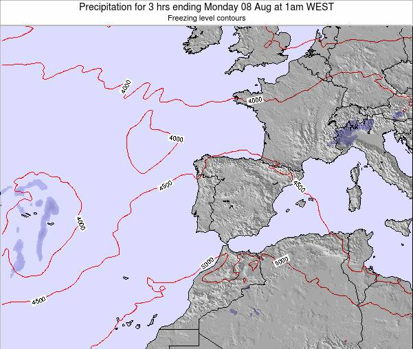 Portugal Precipitation for 3 hrs ending Sunday 23 Jun at 7pm WEST map