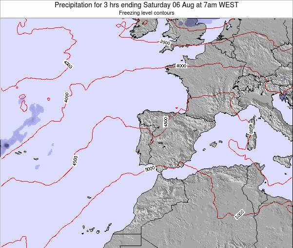 Portugal Precipitation for 3 hrs ending Thursday 19 Dec at 6pm WET