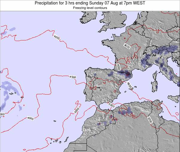 Portugal Precipitation for 3 hrs ending Monday 27 May at 7am WEST map